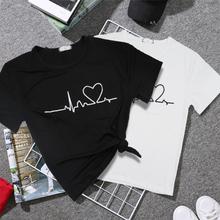 2019 nowy Harajuku Love wydrukowano kobiety t-shirty koszulka casual topy lato z krótkim rękawem kobiet T shirt dla kobiet odzież tanie tanio Poliester Octan NONE Stałe REGULAR F480 Suknem O-neck Na co dzień Korean Style Women Shirts Tee Shirt Women Tshirt Women