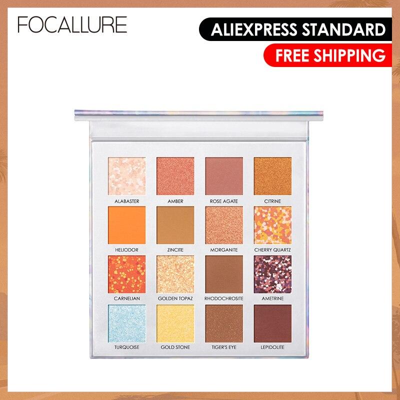 FOCALLURE 16 Color Professional Eyeshadow Crystal Palette Silky Smooth Pigment Glitter Powder Eyeshadow