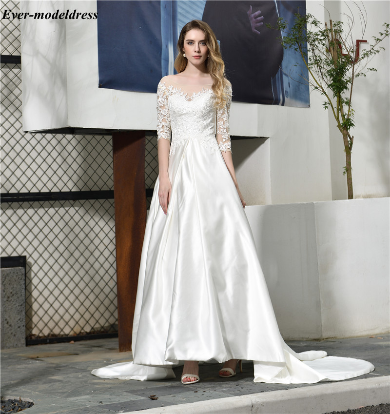 Vestido 2019 New Wedding Dresses Half Sleeves Lace Appliques Sheer Scoop Lace-Up Back Garden Bridal Gowns Court Train