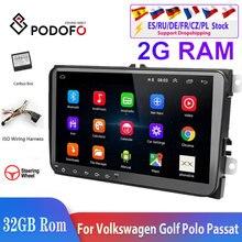 Podofo radio Multimedia con GPS para coche, radio con reproductor, Android 8,1, 2Din, WIFI, RCA, estéreo, para Volkswagen, Golf, Skoda y Seat