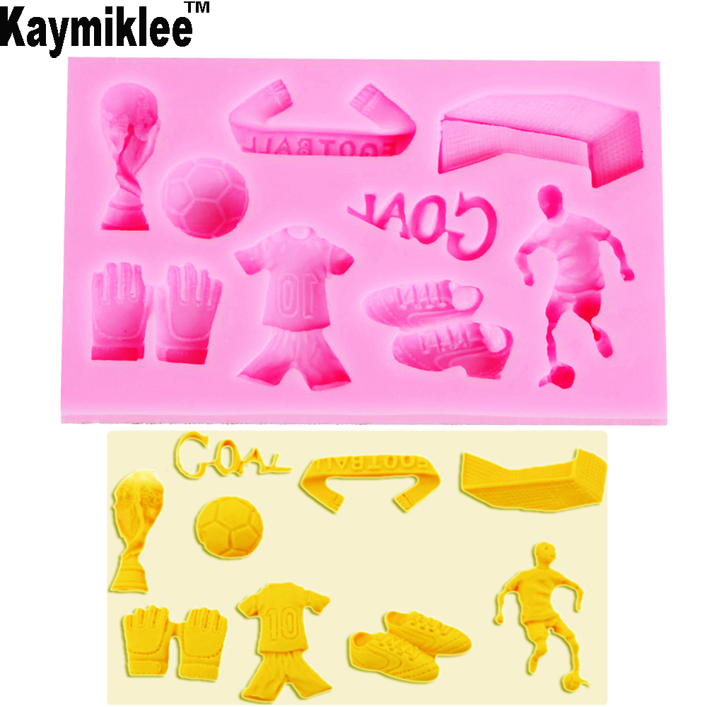 Kaymiklee M177 Hot FDA 3D Soccer World Cup Series shaped silicon fondant Cake decoration mold chocolate mold wholesale image