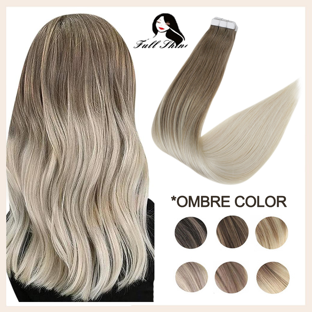 Full Shine Balayage Hair Extensions With Double Sided Tape in Extensions 20 Pieces 50 Gram For Woman Glue on Hair Extension
