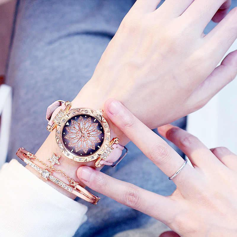 Orologi di lusso Delle Donne Del Braccialetto set Cielo Stellato Braccialetto Delle Signore Della Vigilanza Casual orologio Al Quarzo In Pelle Orologio Da Polso Relogio Feminino