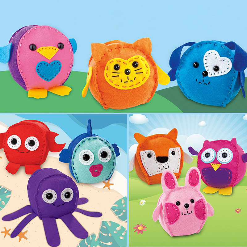 3Pcs/Set Creative DIY Handmade Sewing Non-woven Toys Kindergarten Handmade Animal Dolls Early Eductional Toys Children Gifts