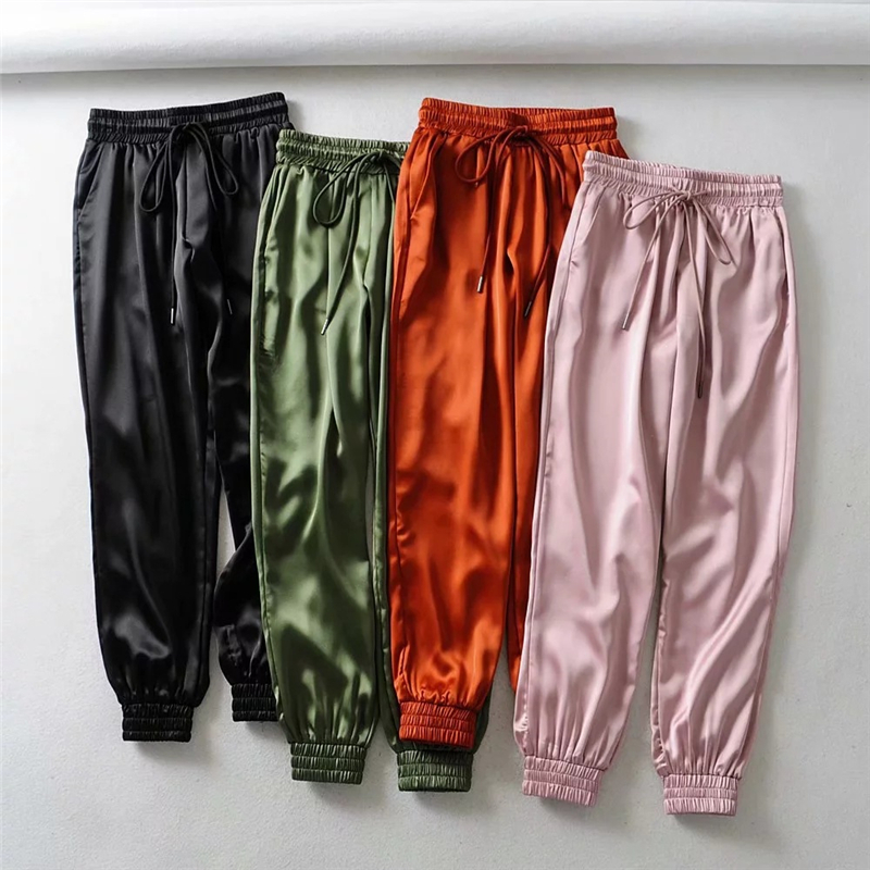 Home Casual Women Drawstring Sweatpants Tracksuit  Joggers Pants Women Trousers High Waist Pink Stretch Pants 2020 Trend