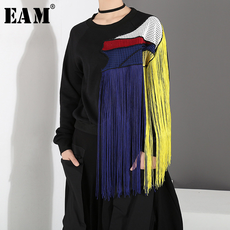 [EAM] Loose Fit Colorful Tassels Split Joint Sweatshirt New Round Neck Long Sleeve Women Fashion Tide Spring Autumn 2020 1D761