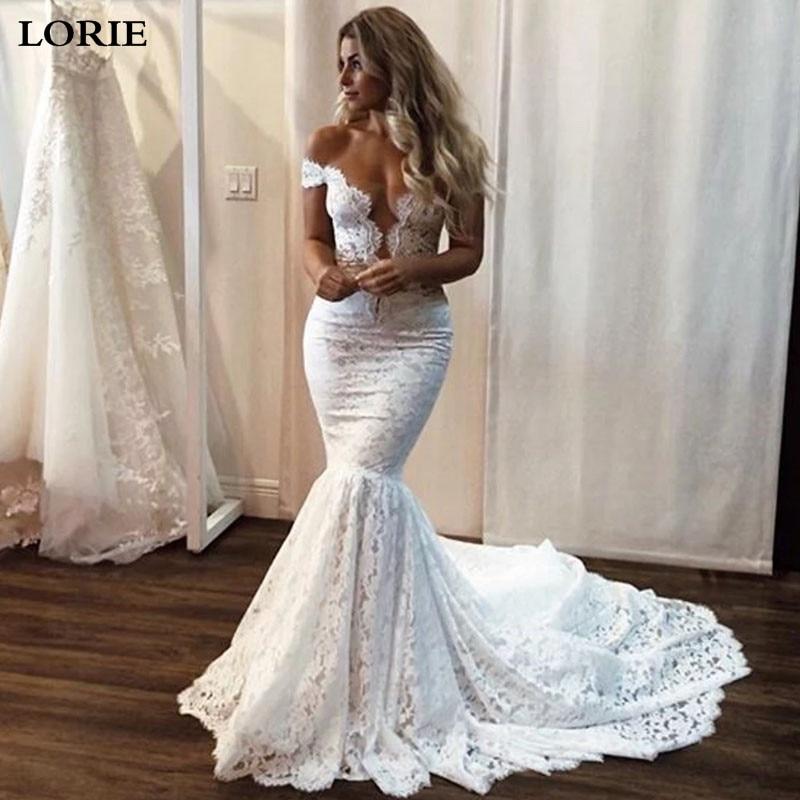 LORIE Boho Mermaid Wedding Dress Nude Tulle Bride Dresses Wedding Gowns With Romantic Buttons Vestidos De Novia