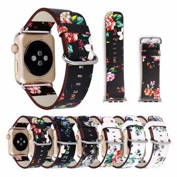 Floral Printed Leather Strap for Apple Watch band belt 42mm/38 40 44mm Flower Design link Bracelet for iwatch series 5 4 3 2 1