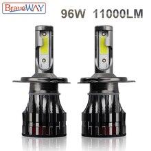 BraveWay LED Headlight Bulbs for Car Motorcycle H4 H7 LED Bulb H11 H1 Auto Fog Light H4 Lamp 9005 9006 HB3 HB4 6000K 11200LM 96W