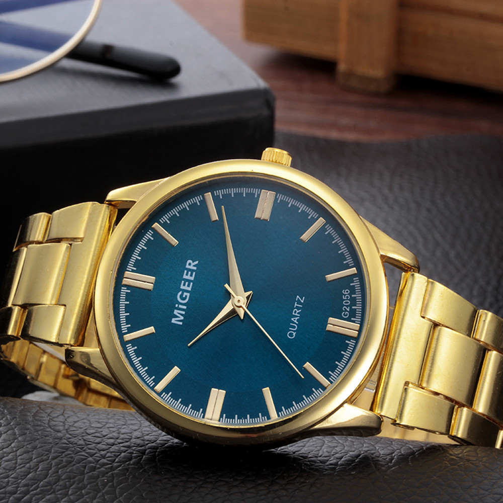 MIGEER Men Business Watches Luxury Fashion Men Crystal Stainless Steel Analog Quartz Wrist Watch Bracelet Relogio Feminino