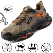 Mens Leather Safety Shoes Steel Toe Cap Hiking Shoes Anti Puncture Lightweight Indestructible Work Boots Security Shoes Men