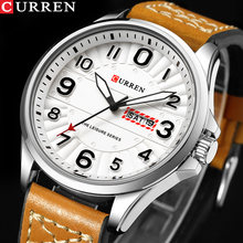 New CURREN Sport Quartz Watch Waterproof Mens Watches Top Brand Luxury Genuine Leather Date Week Clock Relogio Masculino(China)