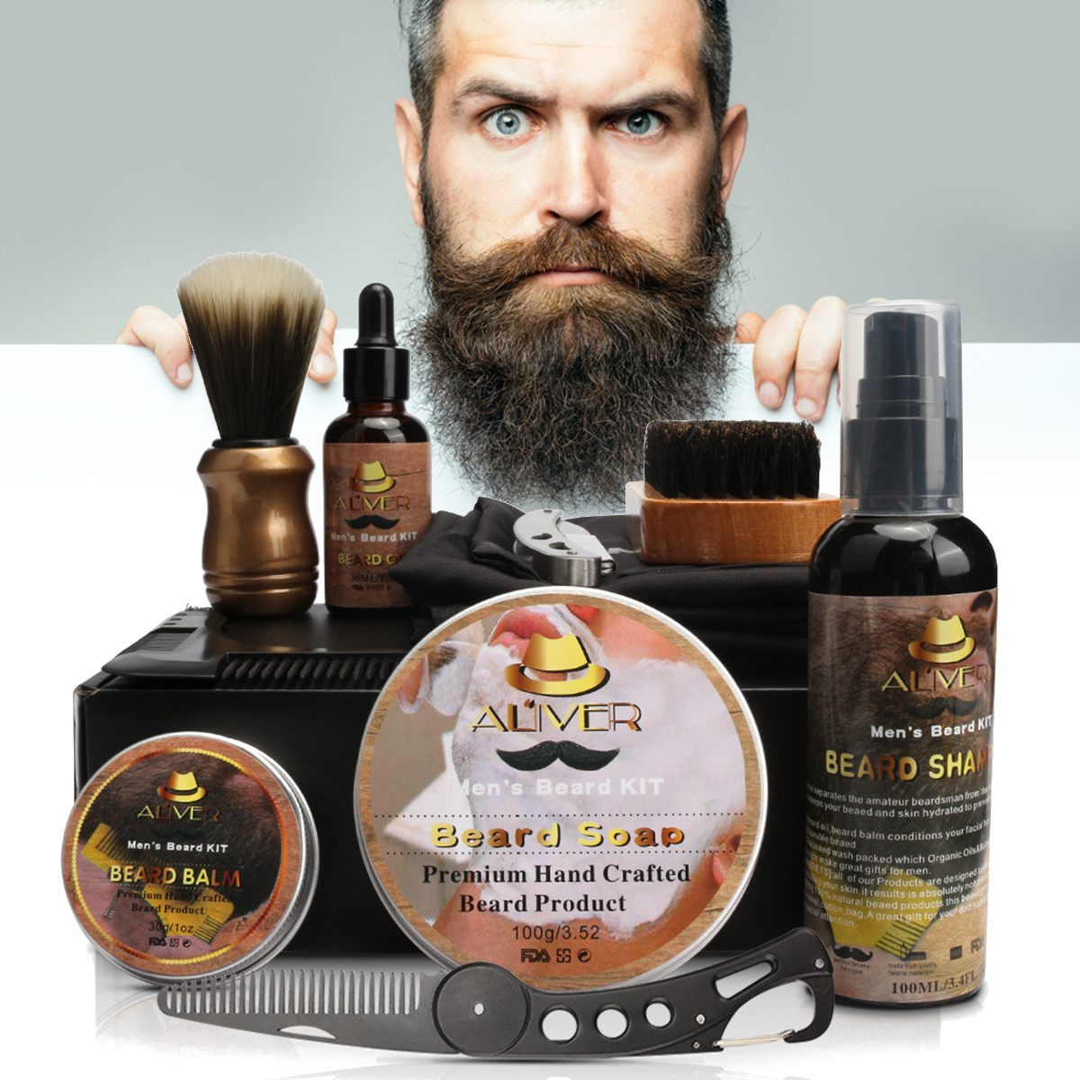 11 Pcs/set Beard Suit Beard Comb Brush Cream Shampoo Beard Styling Care Cleaning Kit Brush Balm Razor Care For Men Grooming Gift