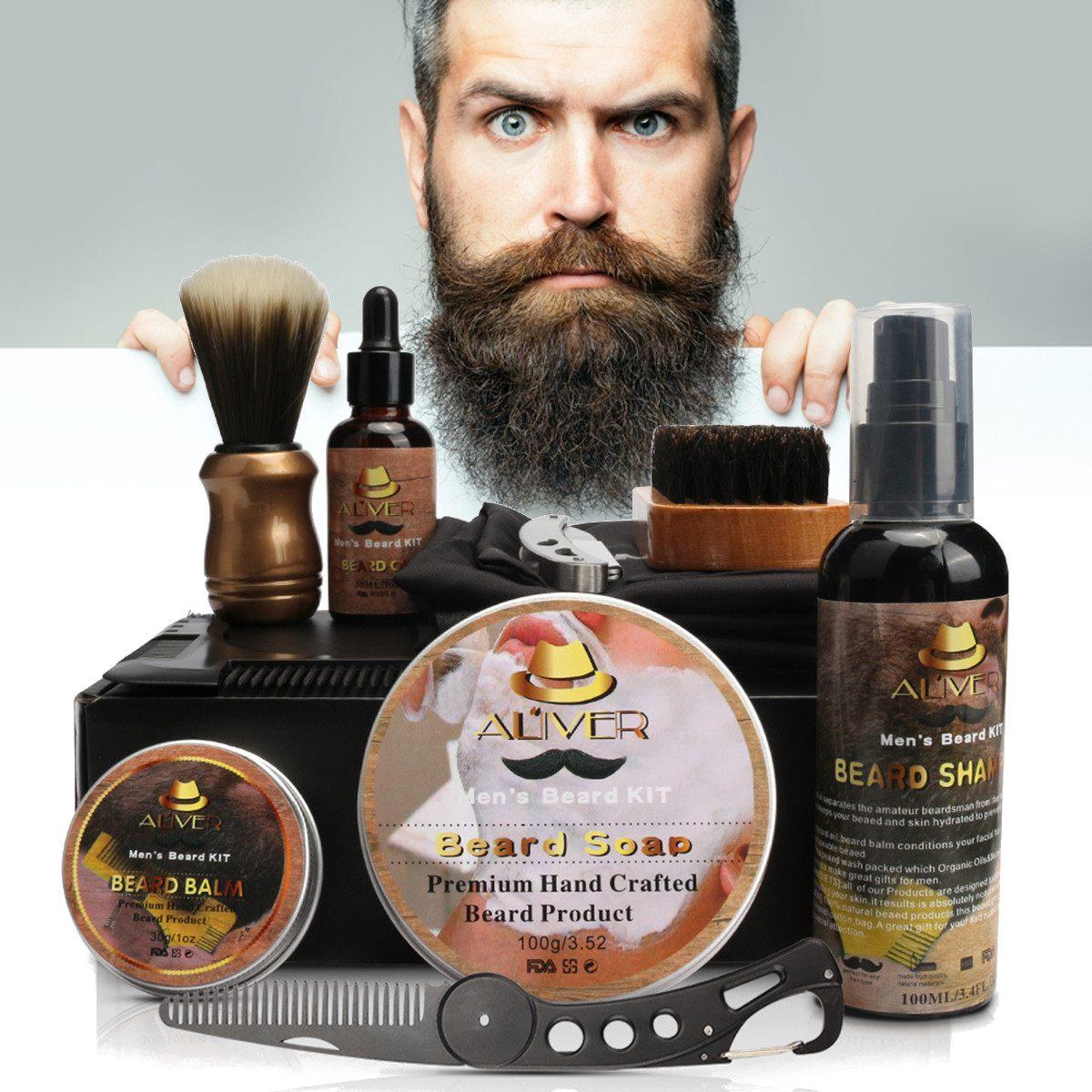 11 Pcs/set Beard Suit Beard Comb Brush Cream Shampoo Beard Styling Care Cleaning Kit Brush Balm Razor Care for Men Grooming Gift