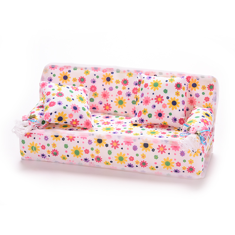 1Set New Cute Miniature Flower Cloth Sofa With 2 Cushions For Doll Kid s Play House