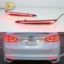 цена на 2pcs For Ford Mondeo Fusion 2013 2014 2015 2016 2017 2018 LED Bumper Light Rear Fog Lamp Brake Light Turn Signal Light Reflector