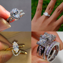 Luxury Female Crystal Zircon Stone Ring Set Silver Gold Color Wedding Band Ring Promise Bridal Engagement Rings For Women simple gold silver color wedding rings for women men couple crystal zircon rings luxury engagement love ring jewelry gift d5z099