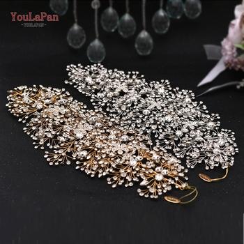 TOPQUEEN HP240 Golden Wedding Hair Jewelry Luxury Crystal Hair Ornaments Rhinestone Wedding Crown Woman Tiara Pageant Crown 2