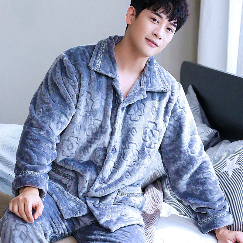 H5896 Large Size Men Pajamas Suit Flannel Autumn Winter Coral Fleece Student Sleepwear Long Sleeve Comfortable Thick Nightgown