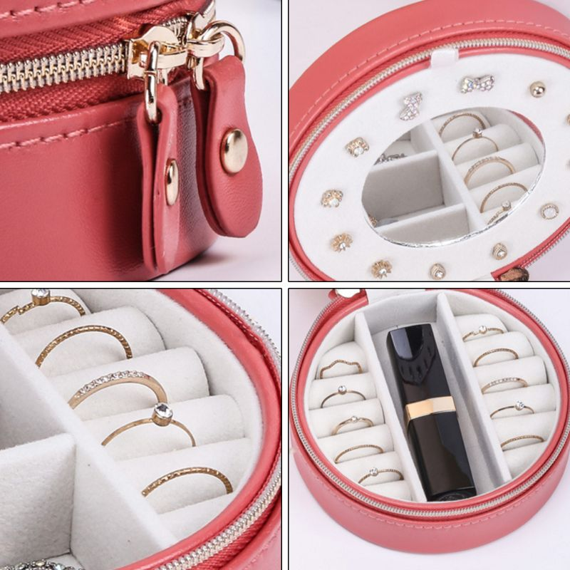 Portable Round Jewelry Box Faux Leather Jewellery  Earrings Display Organizer B36D