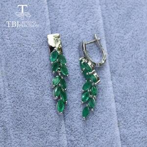 Image 4 - ロングナチュラルエメラルドイヤリング貴石宝石グリーンザンビアエメラルドの宝石 925 スターリングシルバー女性のための最高のギフト