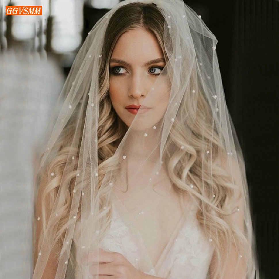 Illusion Twee Layer 75 Cm Korte Witte Bruiloft Sluier Met Kam 2020 Parels Zachte Tule Ivoor Bridal Veils Goedkope Bruid accessoires