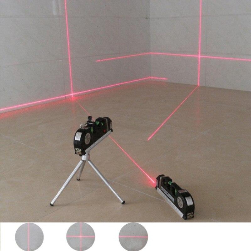 1 PC 4 en 1 niveau Laser infrarouge ruban Laser à lignes croisées avec 2.5m ruban à mesurer outils de niveau laser multifonction