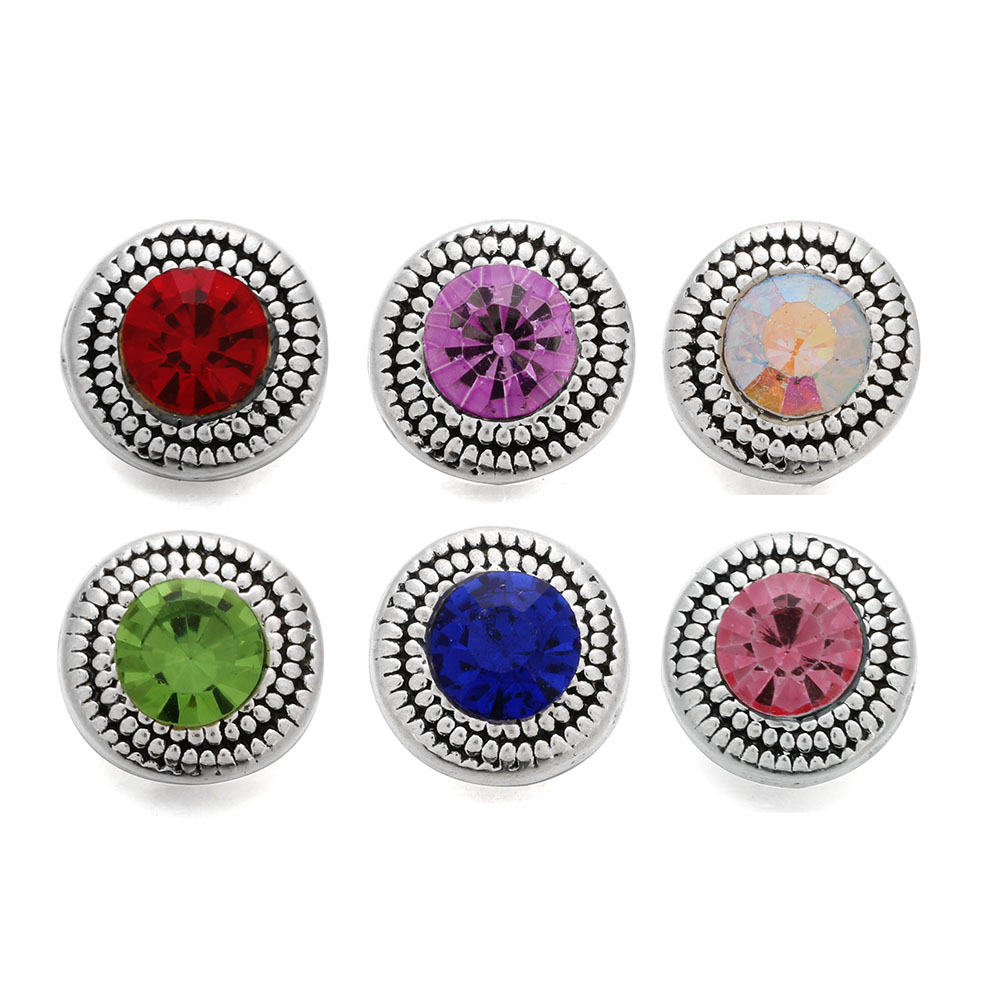 10pcs/lot 6 Color New 12mm snap Jewelry Buttons Metal Snap Round Snaps for 12MM Snap Bracelet Earrings image