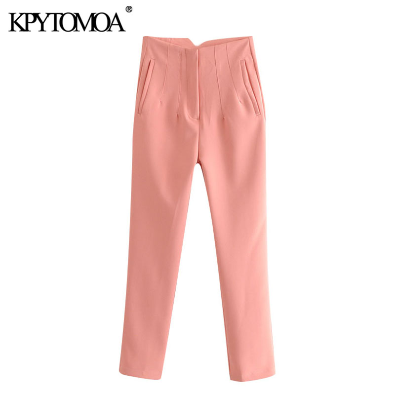 KPYTOMOA Women 2020 Chic Fashion Office Wear High Waisted Pants Vintage Zipper Fly Pocket Female Ankle Trousers Pantalones Mujer