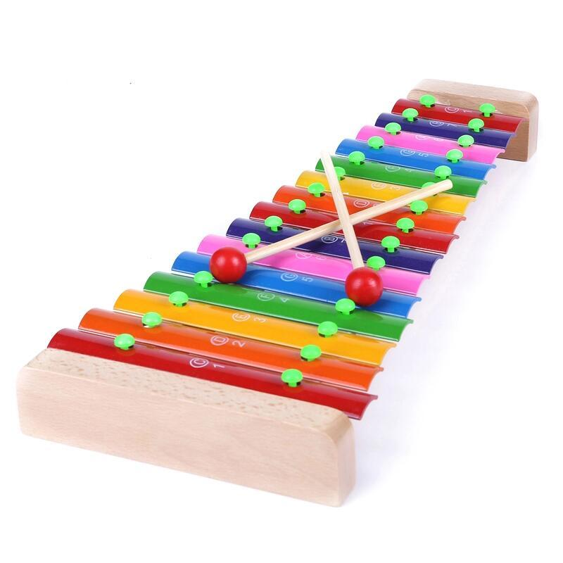 Good Quality Wooden 15-tone Hand Knocking Piano Aluminum Xylophone Toy Children's Educational Vocal Toy Standard Sound Colorful