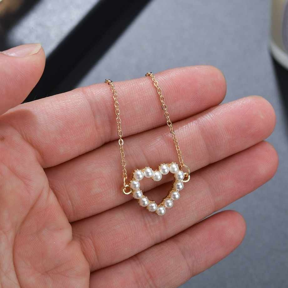Alloy Necklace Hollow Heart Pendant Pearl Gold Necklace Female Fashion Jewelry Sweet Temperament Wedding Party Girl Jewelry