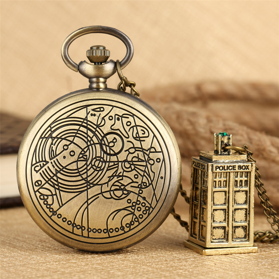 Hot Sale Doctor Who Theme Quartz Pocket Watch With Pendant Bronze Necklace Clock Gifts Men Women Kids