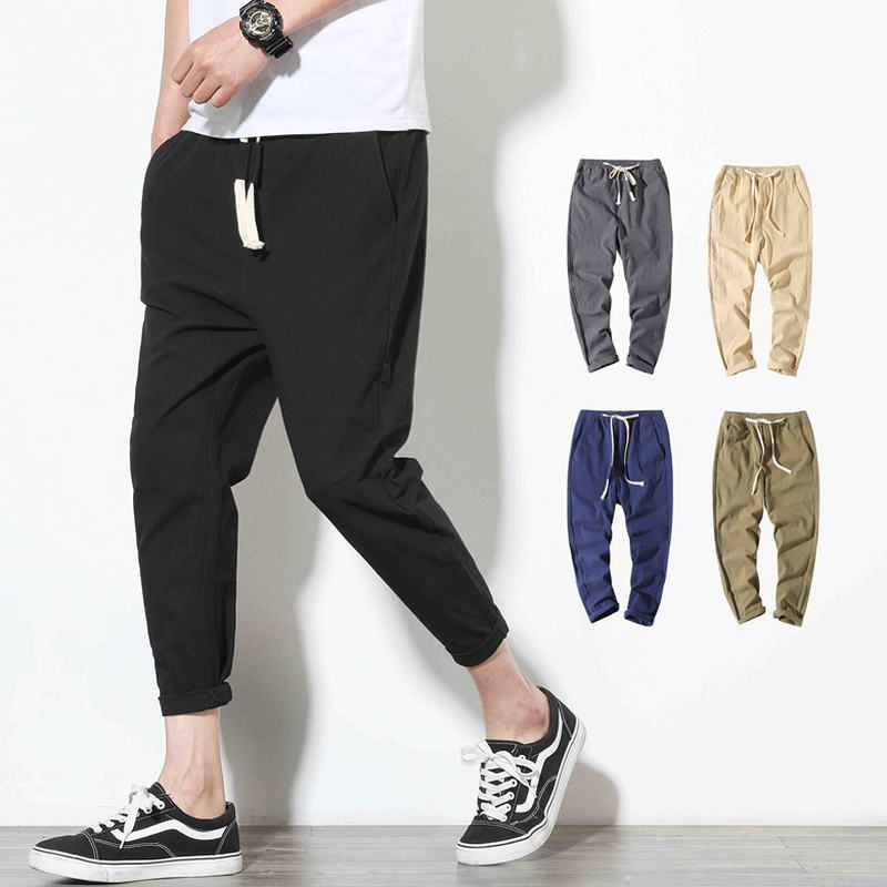 Sport-Pants Trouser Fitness Slim Black Men's Cotton Casual Fashion 5XL Spring Nine-Points