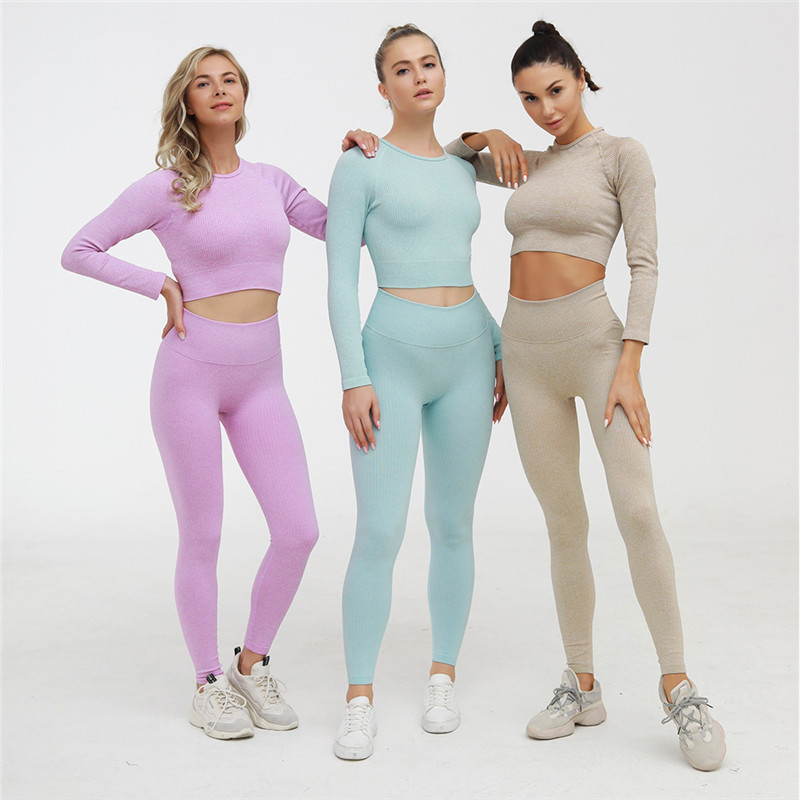 Peeli Ribbed Seamless Yoga Set Sport Suit Workout Clothes for Women Long Sleeve Gym Crop Top High Waist Leggings Fitness Set