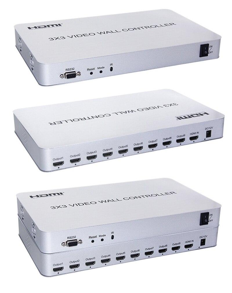 1080P RS232 3x3 contrôleur de mur vidéo HDMI processeur vidéo 1 entrée 9 sortie écran TV affichage 4X2 2X2 3X2 Mode d'épissage Multiple