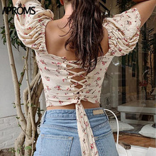 Aproms Sexy Back Lace Up Cropped Blouse Shirt Women Summer Short Sleeve Slim Cro