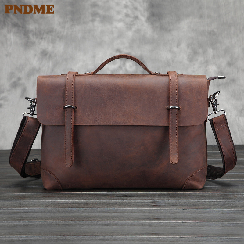 PNDME Simple Retro Genuine Leather Men's Briefcase Business Large Capacity Crazy Horse Cowhide Designer Luxury Computer Bag