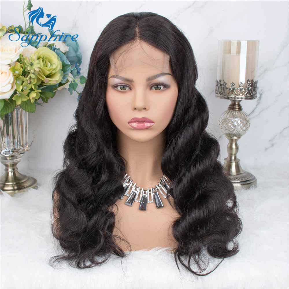 H73f7a6f8084044d3832668ecd71b3c5c6 Sapphire Brazilian Remy Human Hair Wigs 4X4 Pre Plucked Brazilian Body Wave Lace Closure Wigs With Baby Hair For Black Women