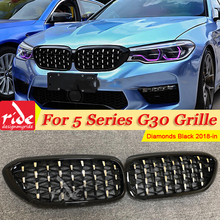 For BMW G30 Saloon Kidney Grille Grill Diamonds ABS Gloss Black M5 Look Sports 5 Series M Performance Front Grills 18-in