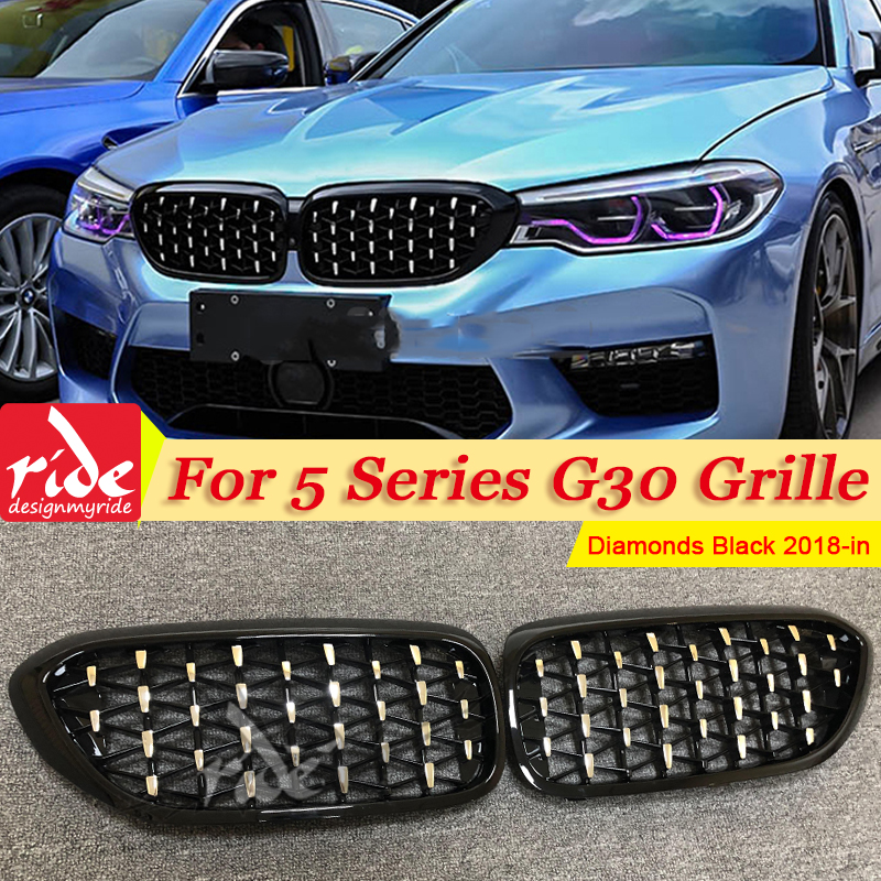 Pour BMW G30 berline rein Grille Grill diamants ABS noir brillant M5 Look sport 5 série M Performance avant rein grilles 18-in