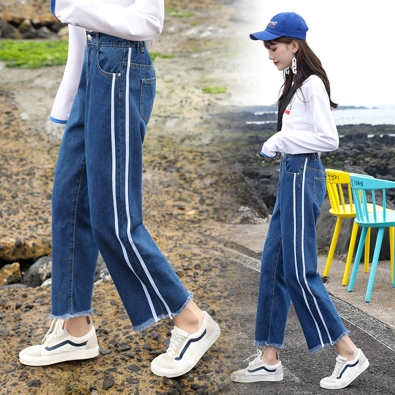 Jeans Female Summer Loose-Fit 2018 New Style High-waisted Korean-style Students BF Capri Pants Versatile Slimming Spring And Aut