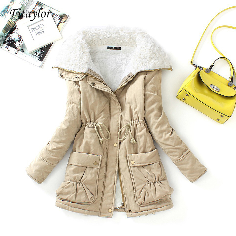Fitaylor Winter Cotton Coat Women Slim Snow Outwear Medium long Wadded Jacket Thick Cotton Padded Warm