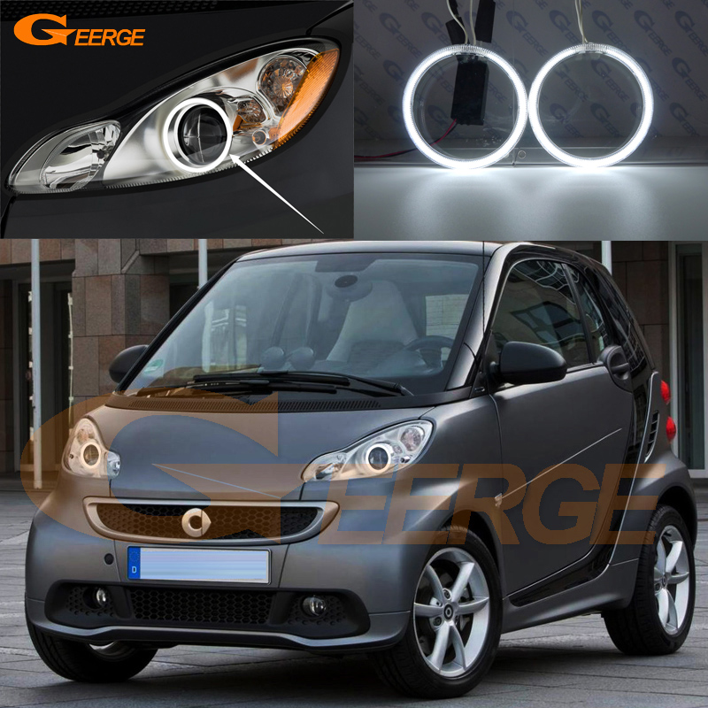 Excellent Ultra Bright Illumination CCFL Angel Eyes Kit Halo Ring For Smart Fortwo W451 2007 2008 2009 2010 2011 2012 2013 2014