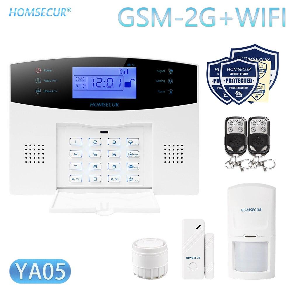 HOMSECUR DIY Wireless Home Security WIFI GSM Alarm System APP Remote Control Arm Disarm(Alarm Panel YA05 PIR Etc.)