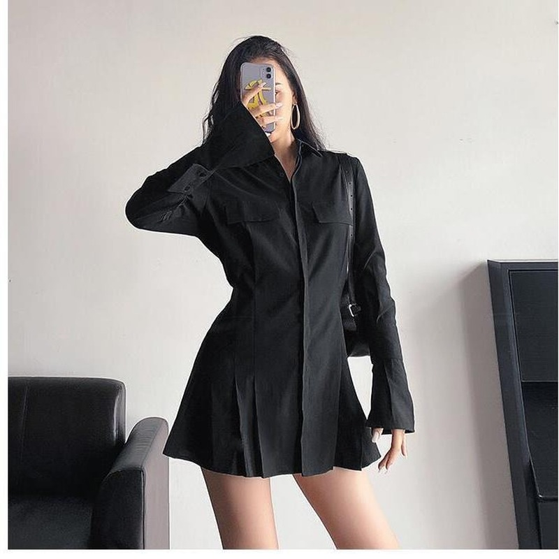 2021 Spring Long Sleeve White Pleated Shirts Women Casual Turn Down Collar Chiffon Blouse Office Lady A Line Style Vestidos Tops 8