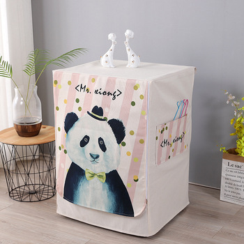 Nordic Style Washing Machine Cover Of Cotton And Linen Fabric With Smooth Zipper For Easy Use