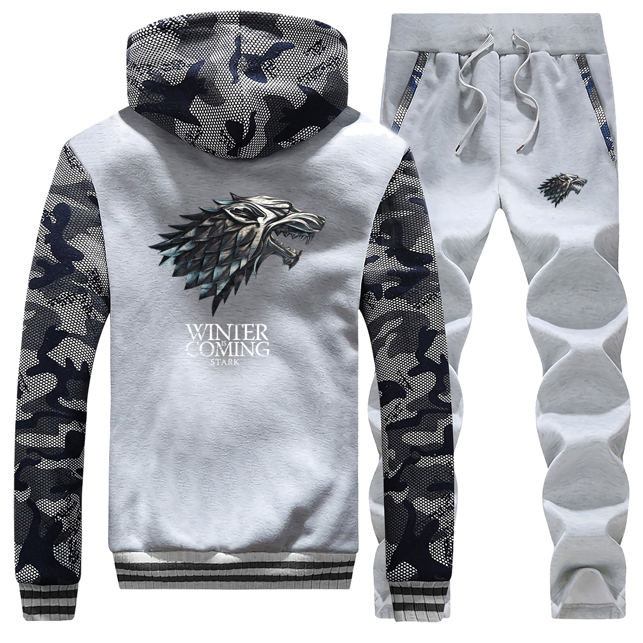 Winter House Of Stark Fleece Camouflage Mens Hoodies Game Of Thrones Coat Thick Suit Warm Jackets Sportswear+Pants 2 Piece Set