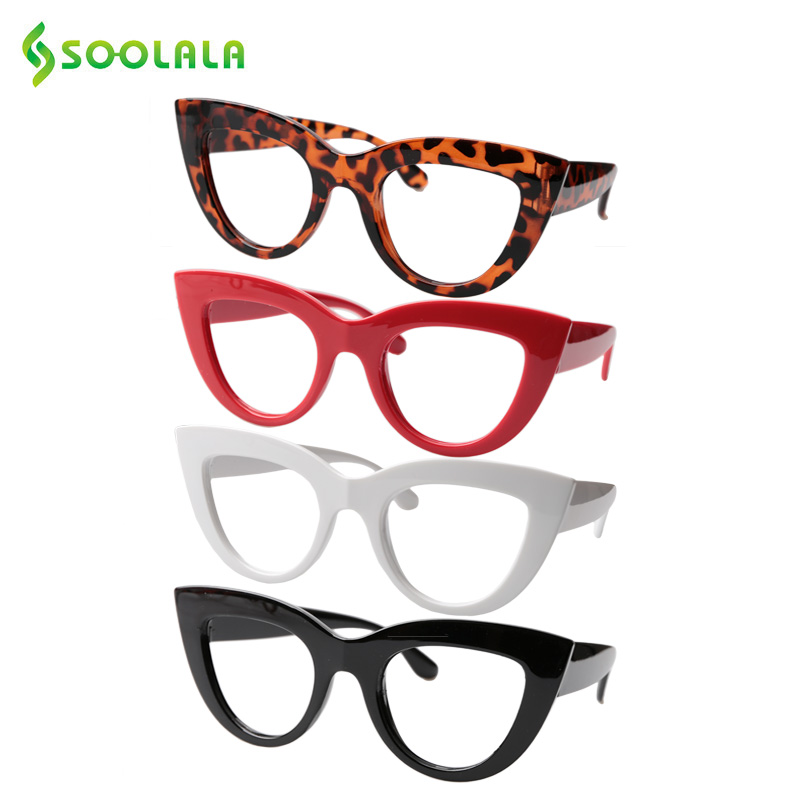 SOOLALA Prescription Glasses Gafas-De-Lectura Magnifier Cat-Eye-Reading Women 4-Pairs