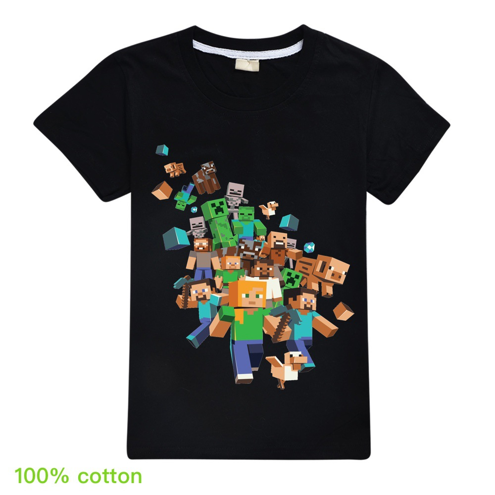 Kids Boys Girls Summer Short Sleeve Minecraftingly Cartoon Clothes Sweatshirts T Shirt Christmas  Creeper Tops 2020 UNSPEAKABLE
