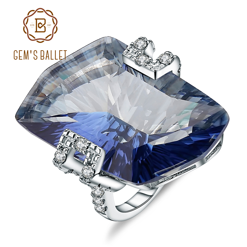 GEM'S BALLET 21.20Ct Natura Iolite Blue Mystic Quartz Gemstone Cocktail Rings 925 Sterling Silver Fine Jewelry For Women